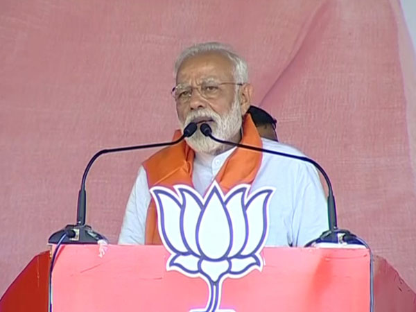 Prime Minister Narendra Modi addressing an election rally in Assam on Thursday. Photo/ANI