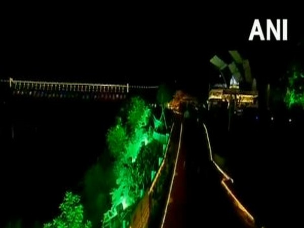 Prime Minister Narendra Modi inaugurated dynamic lighting for the Sardar Sarovar Dam in Gujarat on Friday. Photo/ANI