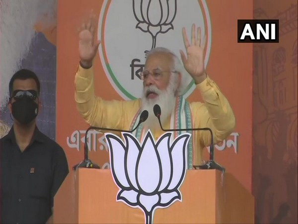 Prime Minister Narendra Modi addressing a public rally in Sonarpur area of West Bengal.  (Photo/ ANI)