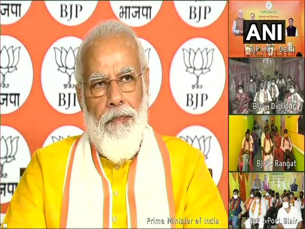 Prime Minister Narendra Modi during interaction with BJP workers of Andaman and Nicobar on Sunday. Photo/ANI