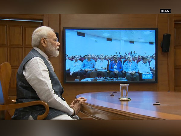 Prime Minister Narendra Modi during his interaction with scientists on Wednesday. Photo/ANI