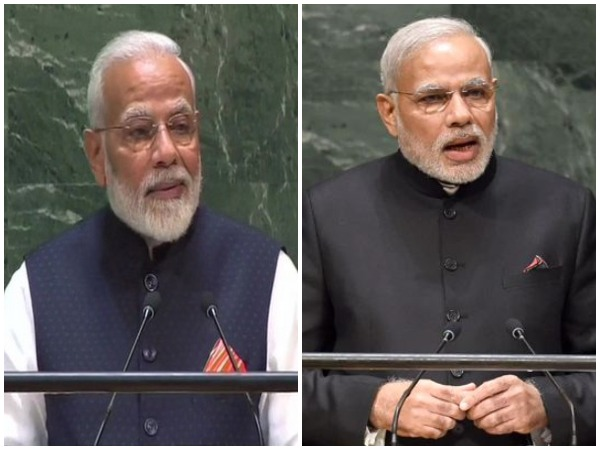 Prime Minister Narendra Modi addressing the UNGA in New York on Friday (L) and in 2014 (R)
