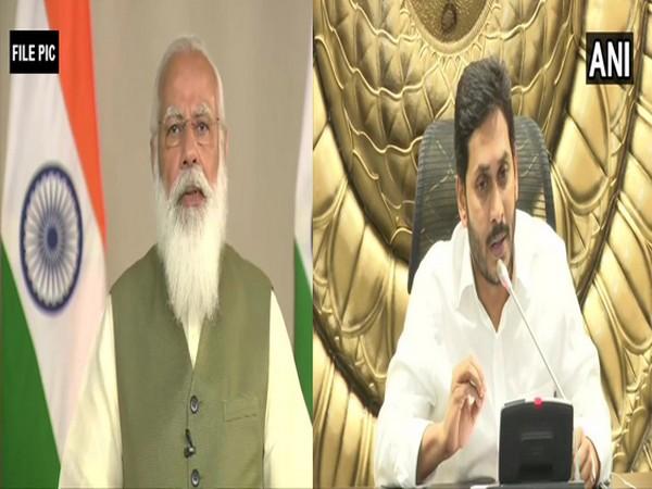 Visual of PM Modi and Andhra Pradesh CM, Jaganmohan Reddy (right) (Photo/ANI)