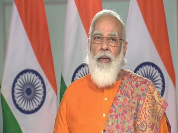 Prime Minister Narendra Modi speaking at the inauguration of Ro-Pax terminal in Gujarat via video conferencing. [Photo/ANI]