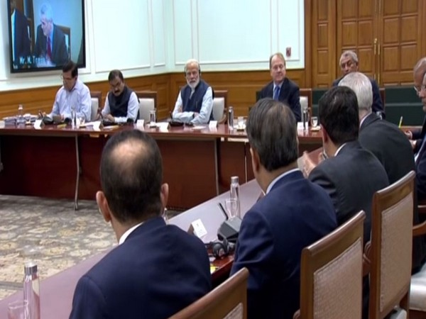 The members of the US India Strategic Partnership Forum (USISPF) in a meeting with Prime Minister Narendra Modi in New Delhi on Monday. Photo/ANI