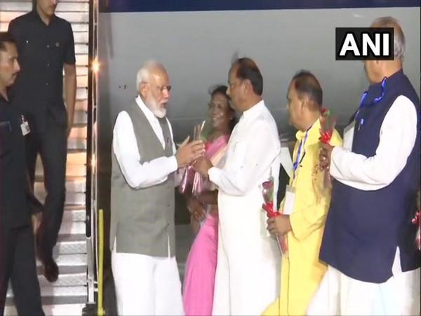 PM Narendra Modi arrives Ranchi on Thursday. Photo/ANI