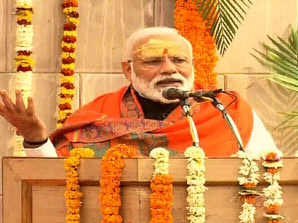 Prime Minister Narendra Modi speaking after the foundation laying ceremony of Kashi Vishwanath Temple Corridor in Varanasi