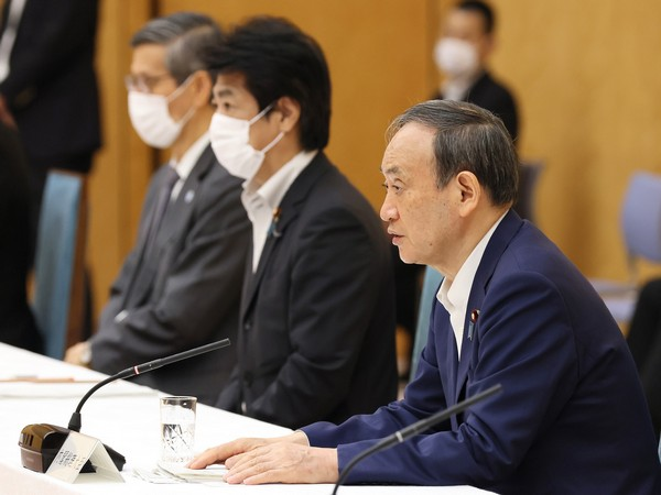 Japan's PM Yoshihide Suga announcing extension of state of emergency till August 31 (Twitter/PM's Office of Japan)