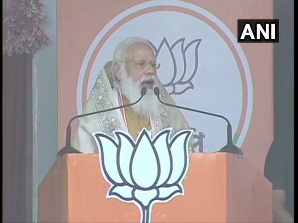 Prime Minister Narendra Modi addressing a public rally in West Bengal's East Midnapore. (Photo/ ANI)