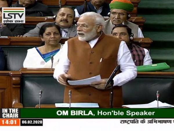 Prime Minister Narendra Modi addressing the Motion of Thanks in Lok Sabha on Thursday
