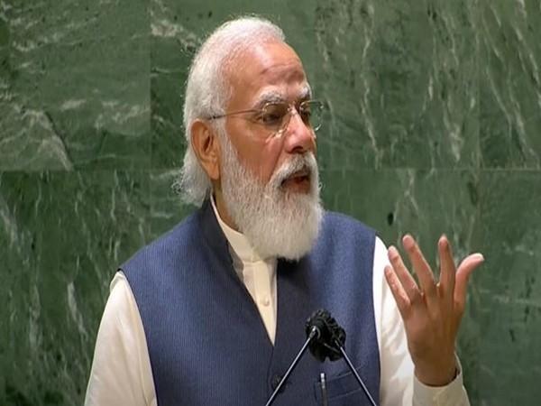 Prime Minister Narendra Modi at his UNGA address.