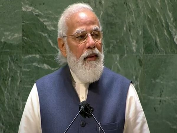 Prime Minister Narendra Modi speaking at the 76th session of the United Nations General Assembly (UNGA).