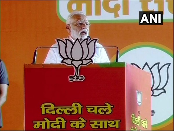 Prime Minister Narendra Modi addressing a rally in Delhi on Wednesday