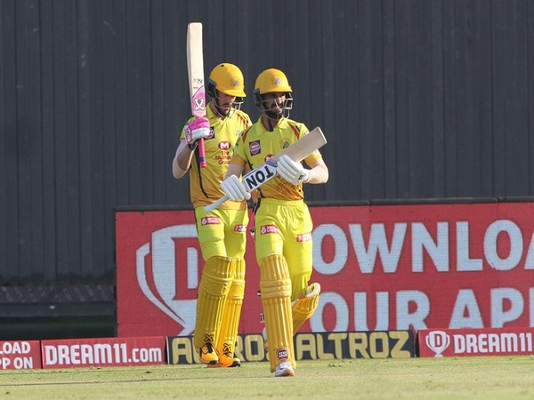 CSK's Faf du Plessis and Ruturaj Gaikwad in action against KXIP (Photo/ iplt20.com)