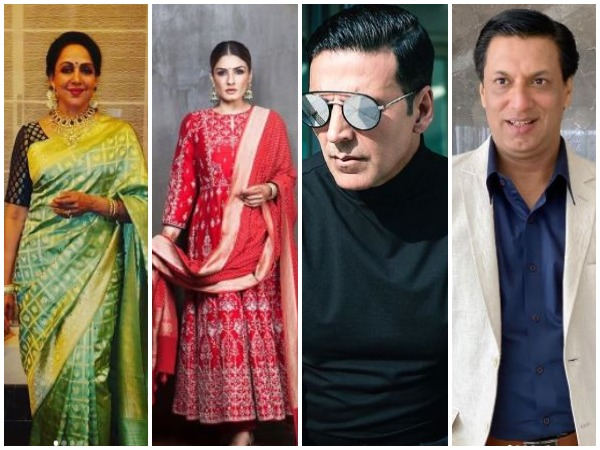 From left to right: Hema Malini, Raveena Tandon, Akshay Kumar, and Madhur Bhandarkar