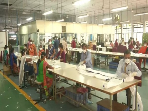Ordnance Clothing Factory of Avadi is manufacturing PPE body coveralls for healthcare professionals. Photo/ANI