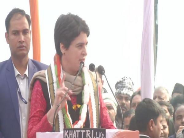 Congress leader Priyanka Gandhi addressing the rally in Lucknow on Saturday (Photo/ANI)