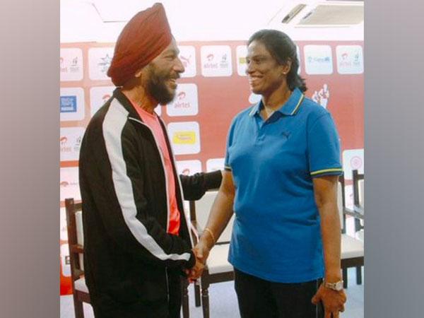 Track legend Milkha Singh with PT Usha (Image: PT Usha's Twitter)