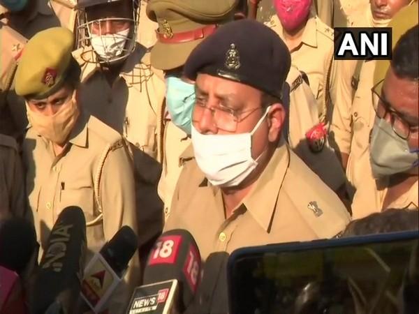 Hathras Additional Superintendents of Police Prakash Kumar speaking to media on Friday. (Photo/ANI)