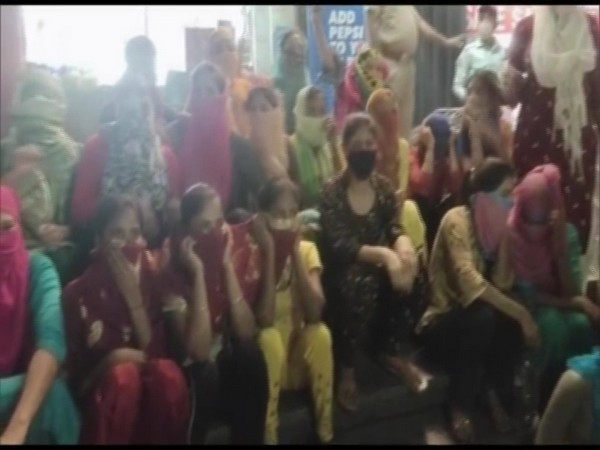 Visual of girls outside Gandhi Vanita Ashram in Jalandhar. (Photo/ANI)