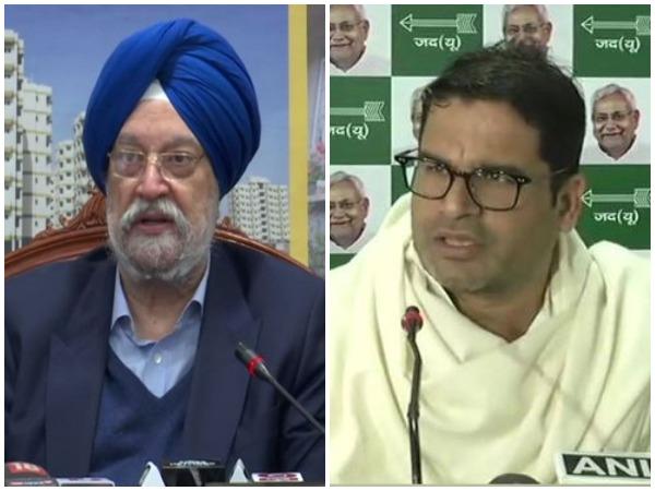 Union Minister Hardeep Singh Puri (L) Poll strategist Prashant Kishor (R)