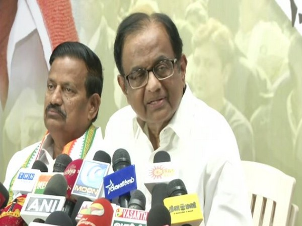 P Chidambaram addressing a press conference in Chennai on Monday. Photo/ANI