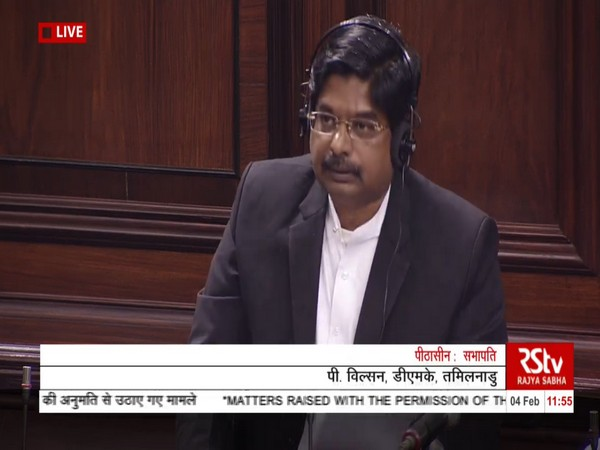 Rajya Sabha MP P Wilson speaking in the Rajya Sabha on Tuesday. (Picture courtesy: RS TV)