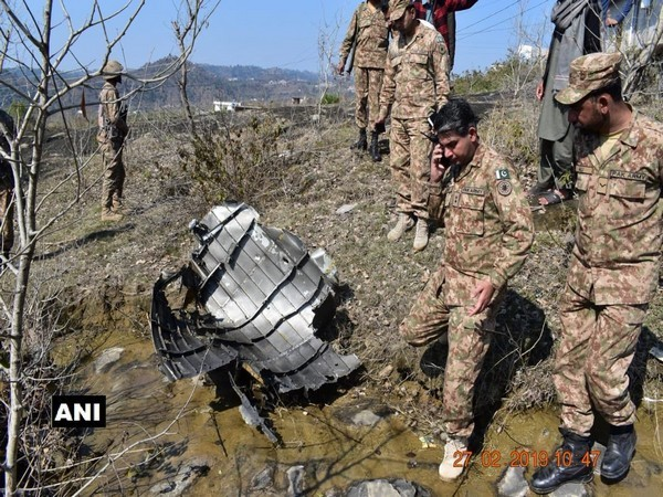 Wreckage of the downed Pakistan Air Force fighter aircraft (F-16), shot down by a MiG 21 Bison of the IAF yesterday, found in PoK on Thursday. Photo/ANI
