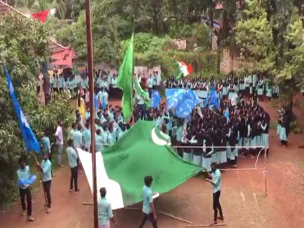 Visuals of students allegedly waving a 'Pakistan' flag at a college in Kozhikode district of Kerala.