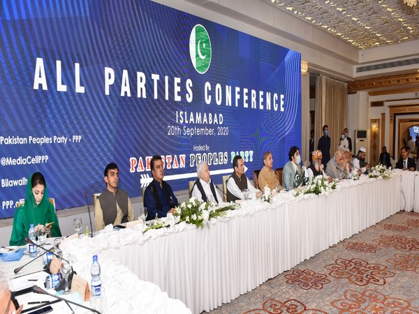 Pakistani opposition leaders during the multi-party conference in Islamabad on Sunday. (Photo source: PPP leader Qamar Zaman Kaira's Twitter)