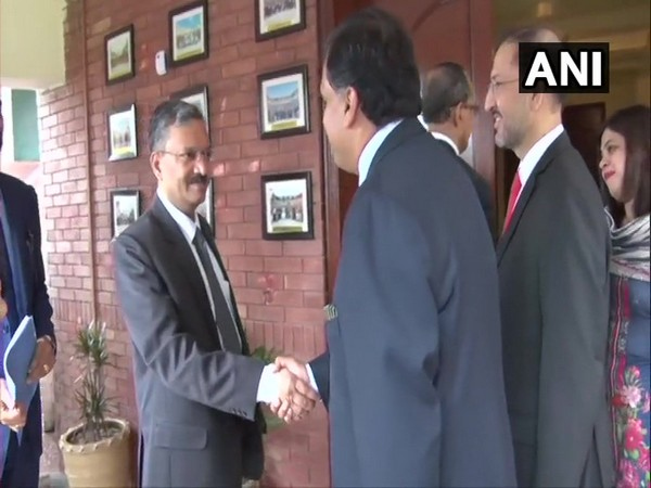 SCL Das, Joint Secretary (Internal Security) in Ministry of Home Affairs (in Pic 1) received by Dr Mohammad Faisal, Spokesperson of Ministry of Foreign Affairs Pakistan, at Wagah on Sunday