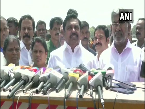 Tamil Nadu Chief Minister Edappadi K Palaniswami speaking to reporters in Trichy. Photo/ANI