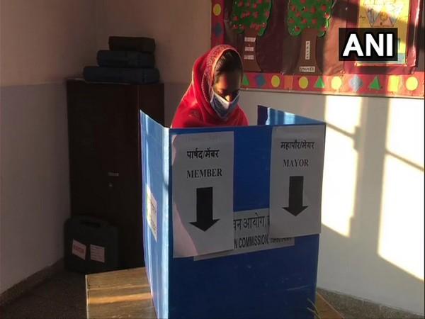 A lady voted at Panchkula Municipal Corporation election at polling centre in Sector-16, Panchkula (Photo ANI)