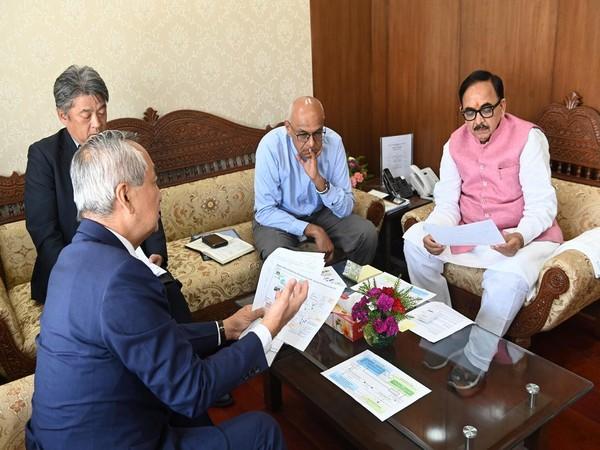 Skill Development and Entrepreneurship Minister Dr Mahendra Nath Pandey in a meeting with Japanese Ambassador Kenji Hiramatsu in New Delhi on Thursday. Photo/ANI