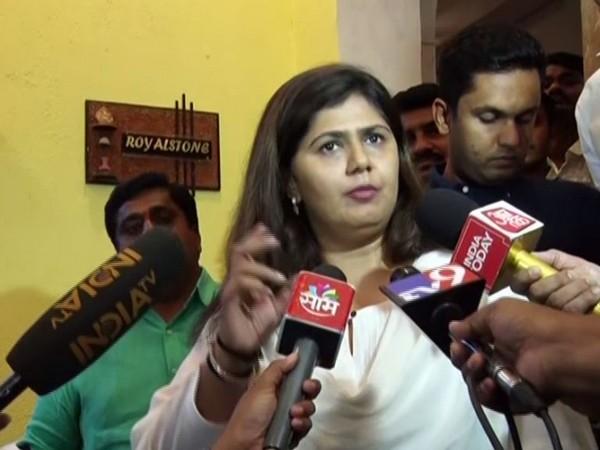 BJP leader Pankaja Munde talking to reporters in Mumbai on Tuesday. Photo/ANI