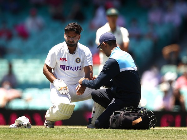 Rishabh Pant was hit on the elbow by a delivery from Pat Cummins (Photo/ BCCI Twitter)