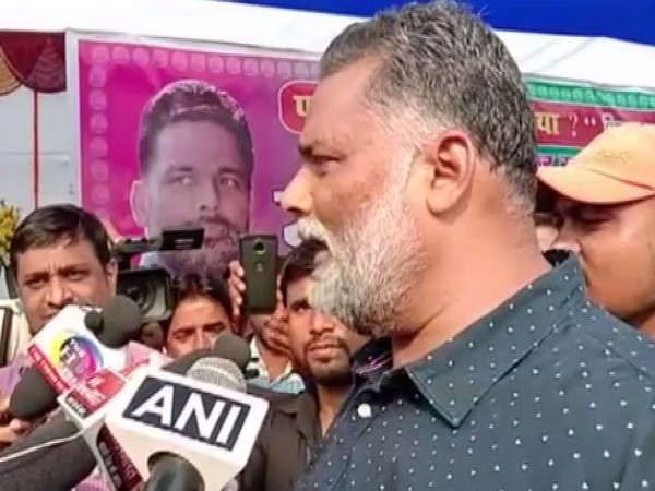 JAP leader Pappu Yadav speaking to reporters on Sunday. Photo/ANI