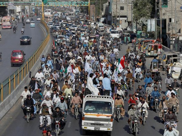 People stage a protest against the arrest of PTM leader Manzoor Pashteen in Karachi on Tuesday.