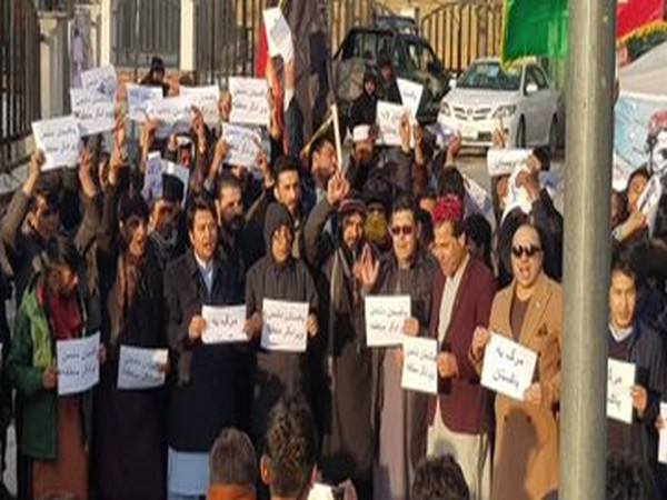 Scores of Afghans nationals on Wednesday protested outside the Pakistan Embassy in Kabul in protest against Islamabad's continued interference in Afghan affairs and also in Jammu and Kashmir.