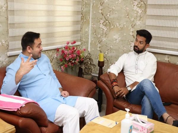 Chirag Paswan meets Tejashwi Yadav. (Photo/ ANI)