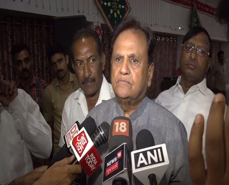 Congress leader Ahmed Patel speaking to reporters in Vadodara, Gujarat on Monday. Photo/ANI