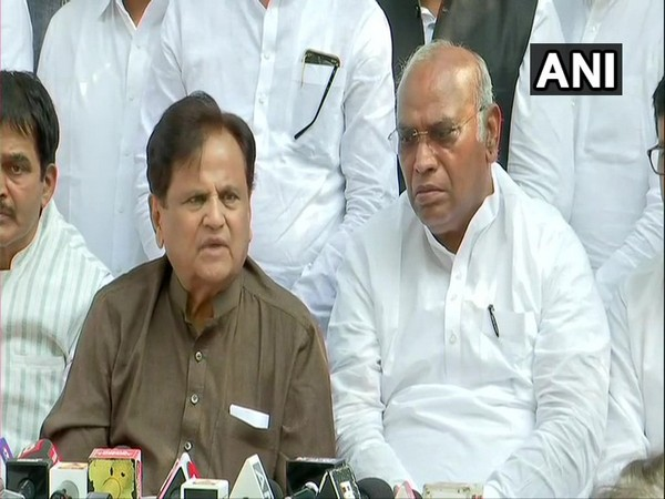 Congress leader Ahmed Patel and Mallikarjun Kharge addressing a press conference in Mumbai on Saturday. (Photo/ANI)