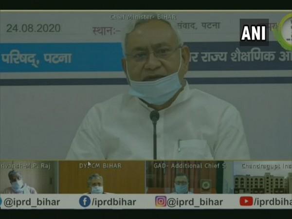 Bihar CM Nitish Kumar speaking at the event on Monday. Photo/ANI