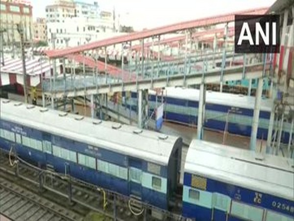 Indian Railways installs two trains as isolation coaches in Patna Junction on Thursday. (Photo/ANI)