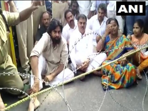 Jana Sena Party leader Pawan Kalyan joined the protest of farmers in Amaravati capital region against YSRCP government's three-capital proposal. Photo/ANI