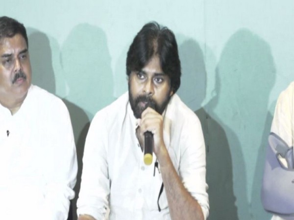 JSP Chief Pawna Kalyan during a press conference in Visakhapatnam on Monday. Photo/ANI