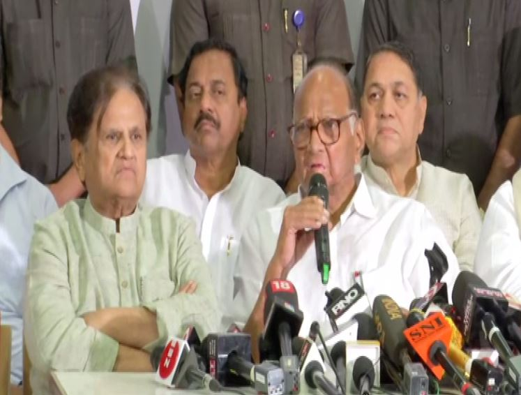 Congress and NCP leaders addressing a press conference in Mumbai on Tuesday