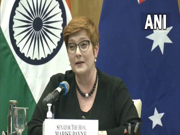 Australian Foreign Minister Marise Payne speaking with reporters after the 2 + 2 ministerial meeting on Saturday.
