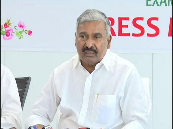 Andhra Pradesh Panchayat Raj Minister Peddireddy Ramachandra Reddy speaking to the reporters on Wednesday. (Photo/ANI)