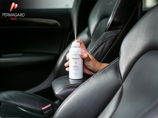 Permagard's Antimicrobial Shield in action in a car, it kills 99.99% viruses instantly and is effective up to 12 months. Usable in cars, offices and homes